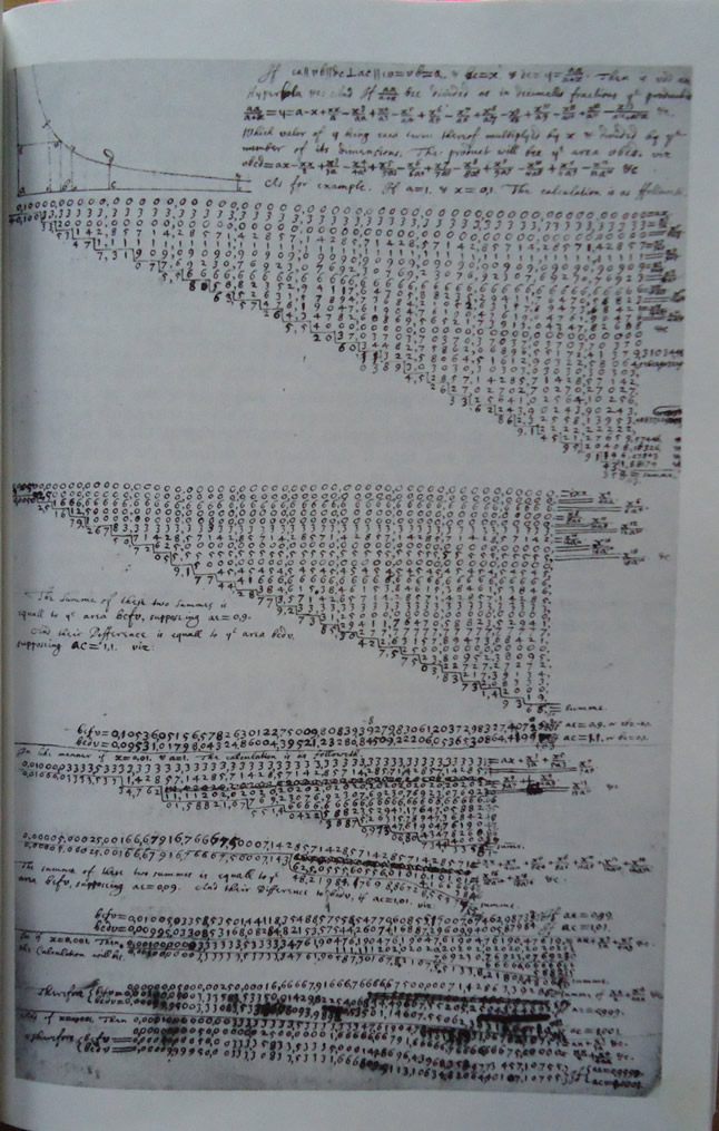 Longhand calculation by Isaac Newton, c 1665